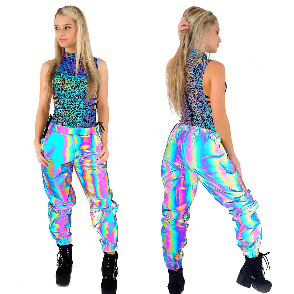 rainbow reflective pants reflective rave clothing joggers mens womens