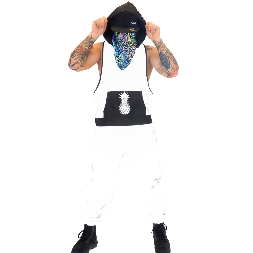 Reflective Tank Tops - White Silver Cut Off Hoodie
