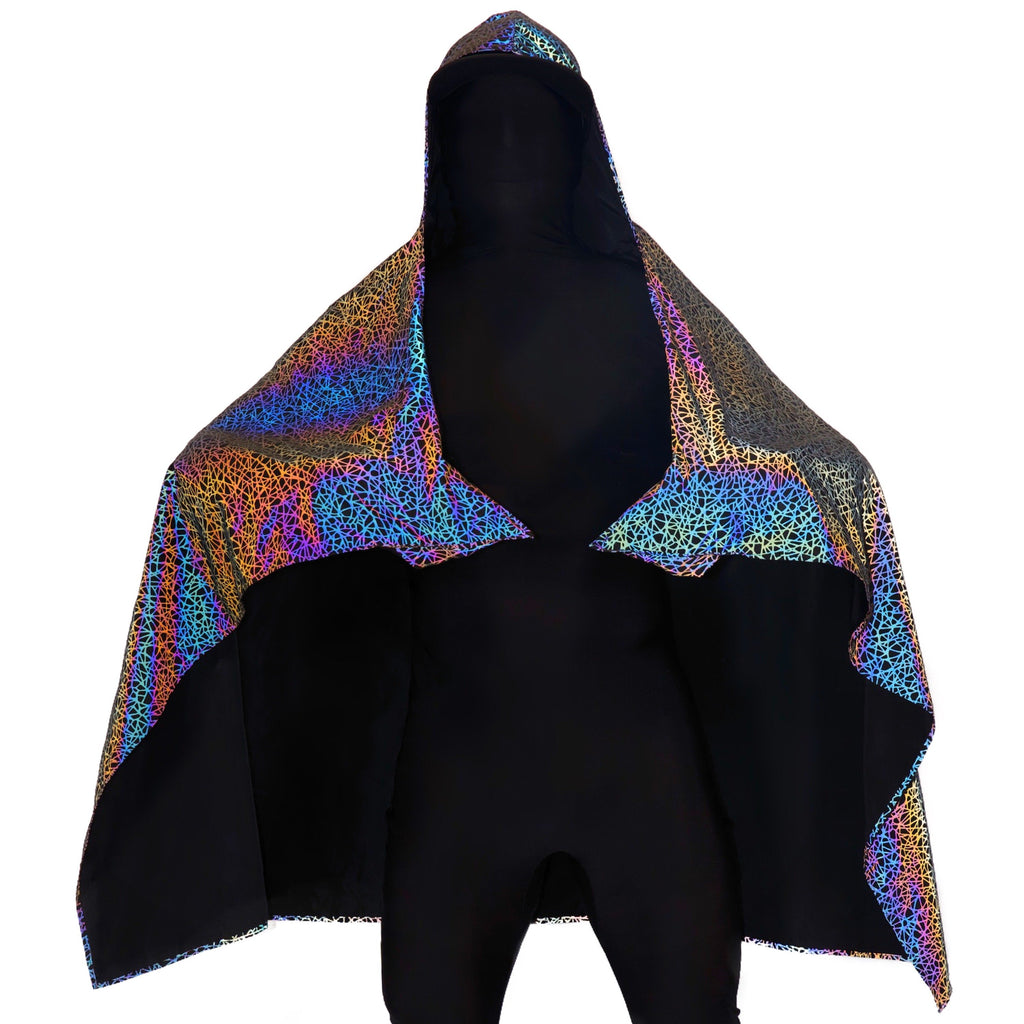 reflective-capes reflective-rave-clothing edm festival hooded blankets rave-cloaks
