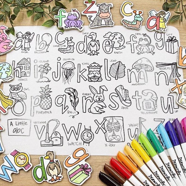 """A Little abc"" Washable Silicone Colouring Mat Set"