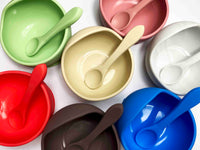 Beige Silicone Suction Bowl with Spoon Set