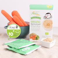 XONGDUR Organic Sprouted Brown Rice Porridge - Spinach & Carrot 80g/5 sachets x 16g (10M+)