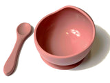 Dusty Pink Silicone Suction Bowl with Spoon Set