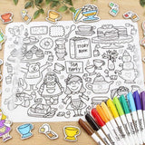 """Tea Party"" Washable Silicone Colouring Mat Set"