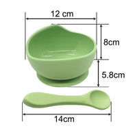 Marble Grey Silicone Suction Bowl with Spoon Set