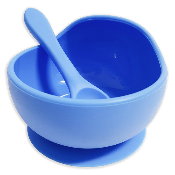 Ocean Blue Silicone Suction Bowl with Spoon Set