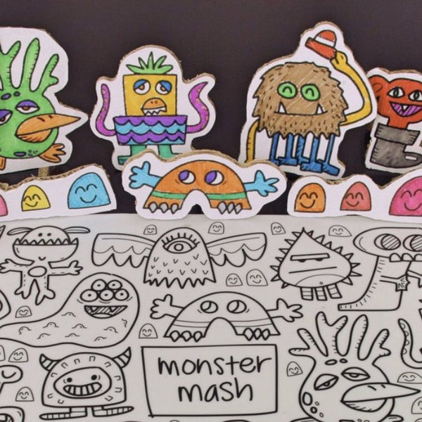 """Monster Mash"" Washable Silicone Colouring Mat Set"