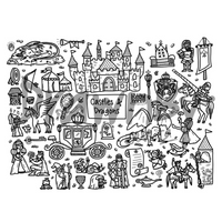 """Castles & Dragons"" Washable Silicone Colouring Mat Set"