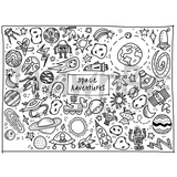 """Space Adventures"" Washable Silicone Colouring Mat Set"
