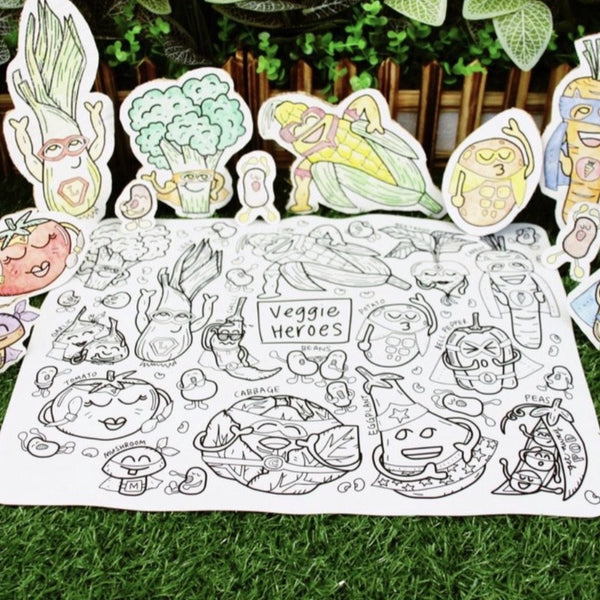 """Veggie Heroes"" Washable Silicone Colouring Mat Set"