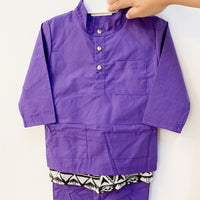 Grape Purple Baju Melayu Samping Set