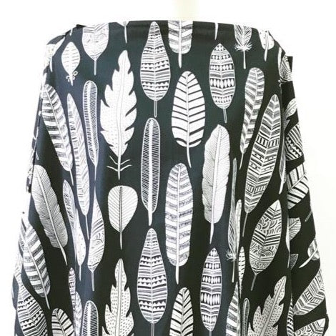 Monochrome Feathers Nursing Cover