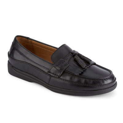 Black-Dockers Mens Sinclair Leather Dress Casual Tassel Slip-on Comfort Loafer Shoe