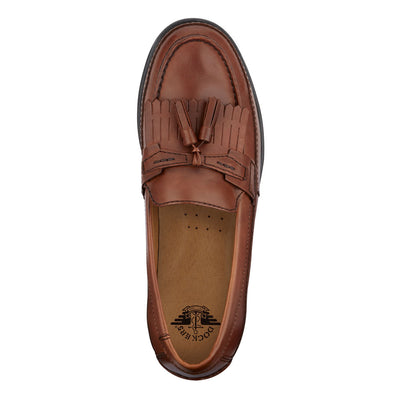 Antique Brown-Dockers Mens Sinclair Leather Dress Casual Tassel Slip-on Comfort Loafer Shoe