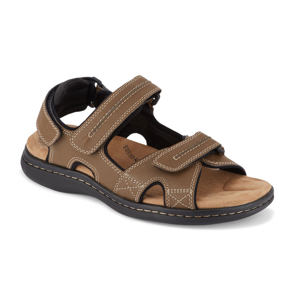 Dark Tan-Dockers Mens Newpage Casual Comfort Outdoor Sport Adjustable Sandal Shoe