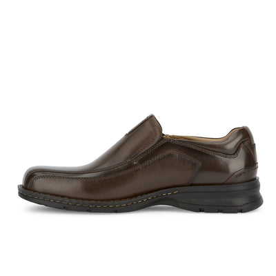 Dark Tan-Dockers Mens Agent Genuine Leather Dress Casual Slip-on Loafer Comfort Shoe