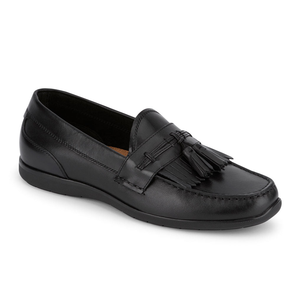 Black-Dockers Mens Landrum Genuine Leather Dress Casual Tassel Slip-on Loafer Shoe