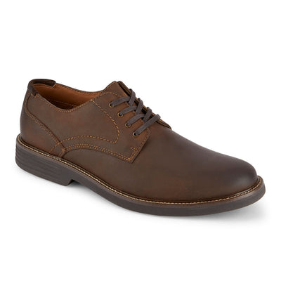 Dark Brown-Dockers Mens Parkway Genuine Leather Casual Lace-up Oxford Shoe with NeverWet
