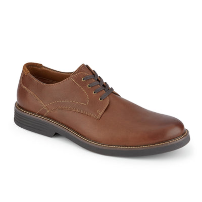 Walnut-Dockers Mens Parkway Genuine Leather Casual Lace-up Oxford Shoe with NeverWet