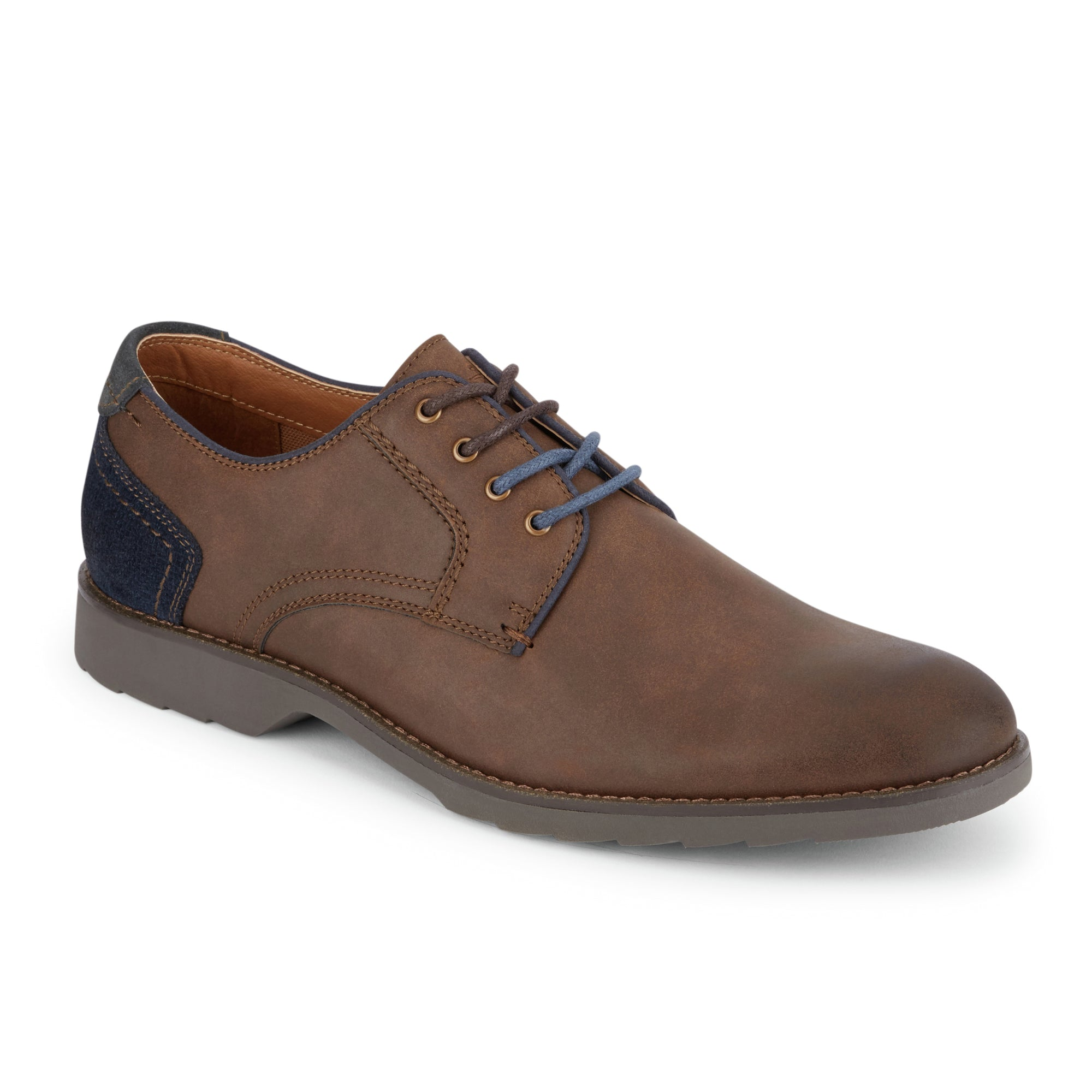 Dark Brown-Dockers Mens Moore Mixed Material Textile Casual Lace-up Plain Toe Oxford Shoe