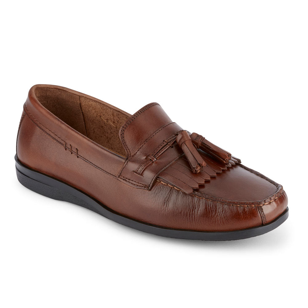 Antique Brown-Dockers Mens Freestone Genuine Leather Dress Casual Tassel Slip-on Loafer Shoe