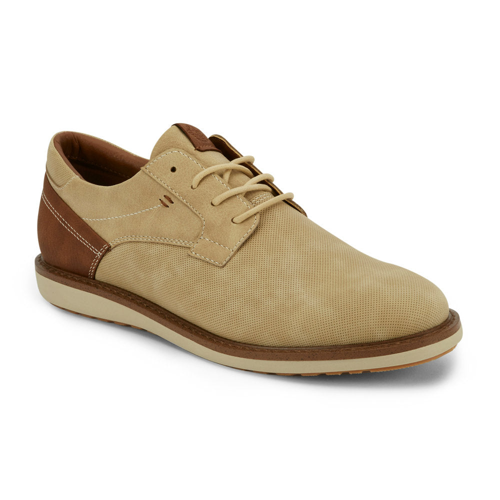 Light Taupe-Dockers Mens Blake Business Casual Lace-up Rubber Sole Comfort Oxford Shoe