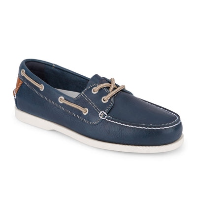 Navy-Dockers Mens Vargas Genuine Leather Casual Classic Rubber Sole Boat Shoe