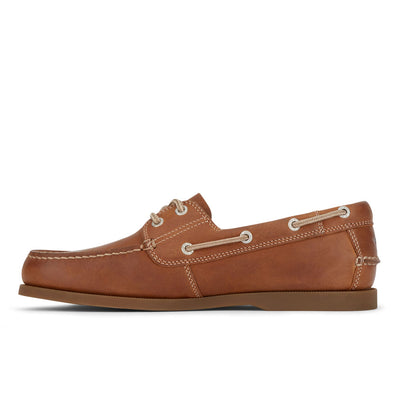Dark Tan/Brown-Dockers Mens Vargas Genuine Leather Casual Classic Rubber Sole Boat Shoe