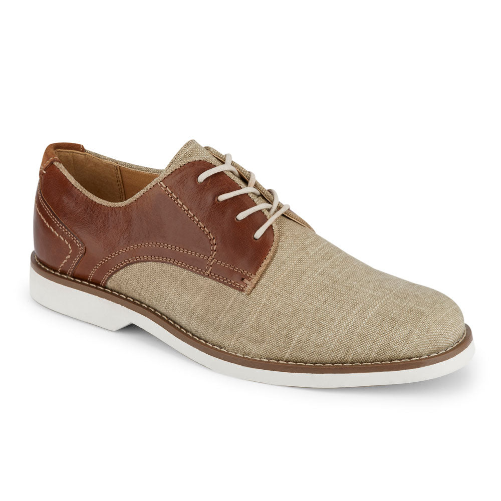 Natural/Brown-Dockers Mens Hayes Mixed Material Textile Casual Lace-up Plain Toe Oxford Shoe
