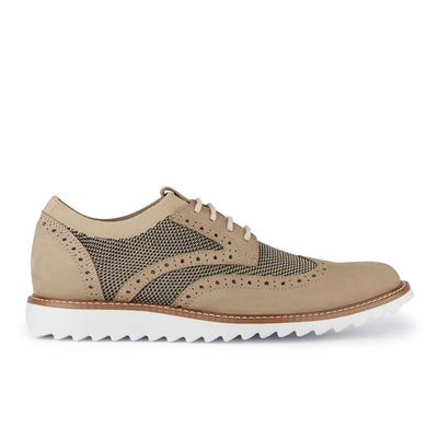 Oatmeal/Black-Dockers Mens Hawking Knit/Leather Dress Casual Wingtip Oxford Shoe with NeverWet