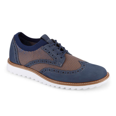 Navy/Tan-Dockers Mens Hawking Knit/Leather Dress Casual Wingtip Oxford Shoe with NeverWet