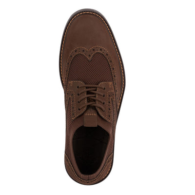 Brown-Dockers Mens Hawking Knit/Leather Dress Casual Wingtip Oxford Shoe with NeverWet