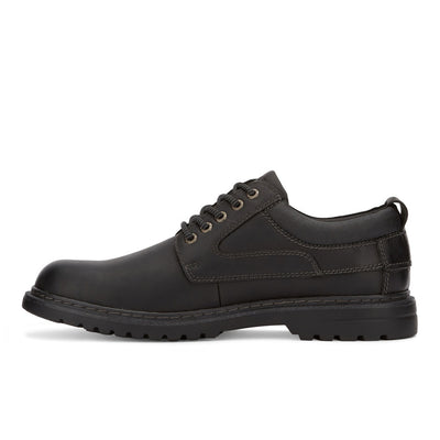 Black-Dockers Mens Warden Leather Rugged Casual Lace-up Oxford Shoe with NeverWet