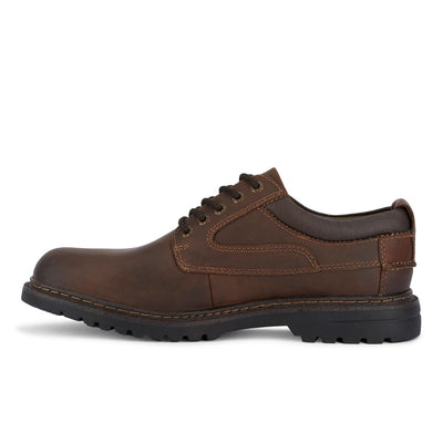Red Brown-Dockers Mens Warden Leather Rugged Casual Lace-up Oxford Shoe with NeverWet