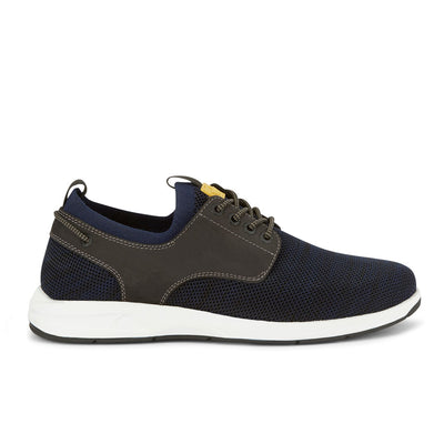 Navy/Black-Dockers Mens Vilas SMART SERIES Leather Boat Shoe 4-Way Stretch and NeverWet
