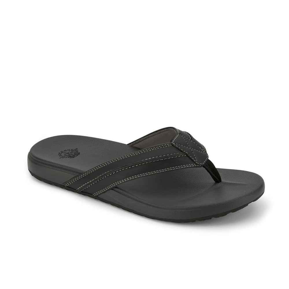Black-Dockers Mens Freddy Casual Flip-Flop Sandal Shoe with FEELIT Comfort Footbed