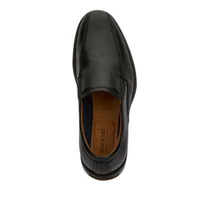 Black-Dockers Mens Greer Business Dress Run Off Toe Slip-on Comfort Loafer Shoe