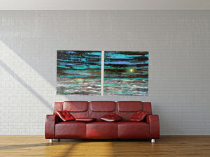 Sea green Storms and Moonlight Solace - Diptych
