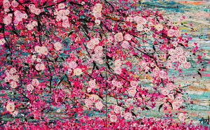 Cherry Blossoms on Water - Large painting (Diptych)