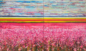 Fields of Joy - Large painting on two panels