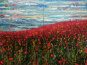The Poppy Fields - Large Painting on two panels