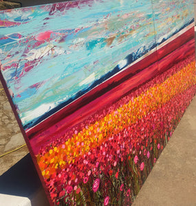 The Flower Fields - Large Painting on two canvases