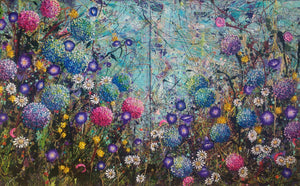 The Hydrangea Patch - Large Artwork - Diptych