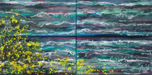 Breaking Waves and Yellow Blossom - Diptych