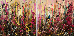 There are butterflies here - large painting (Diptych)
