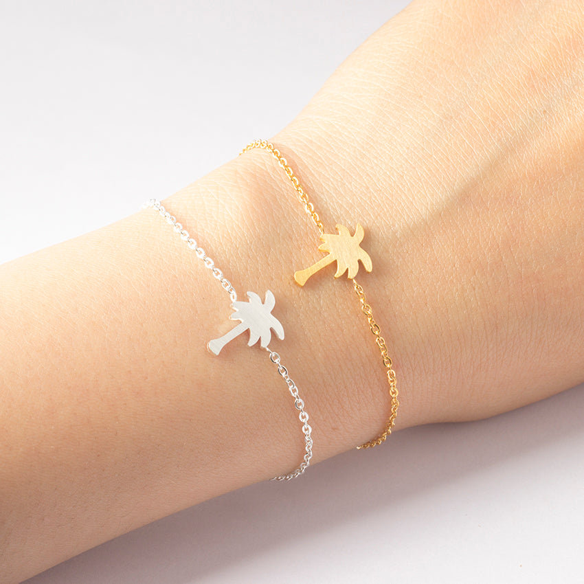Gold Color Charm Palm Tree Bracelet For Women Men Hawaii Beach Jewelry Stainless Steel Coconut Friendship Bracelet Femme Gifts