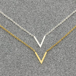Simple V Necklaces Charm Women's Fashion Jewelry Stainless Steel Ketting Choker Friendship Gifts 2018 Collier Femme Bijoux