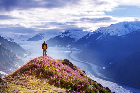 A hiker sits high above a gorge overlooking mountains in Alaska.