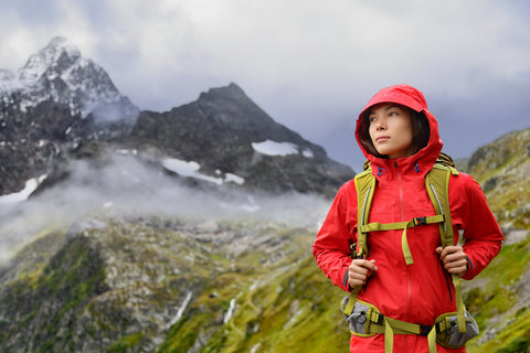 A hiker in rain gear stands among the Swiss alps.