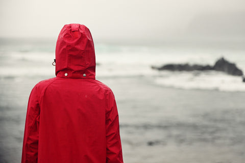 A hiker in a rain jacket looks out over the water.